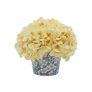 August Grove Hydrangea Floral Arrangement in Floral Pattern Pot; Beige
