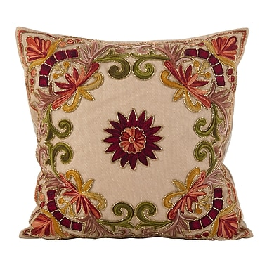 August Grove Baltic Floral Embroidery Motif Beaded Cotton Throw Pillow; Multi