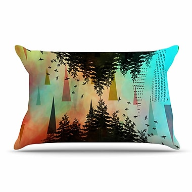 East Urban Home alyZen Moonshadow 'Aa Above, S0 Below' Pillow Case; Orange/Teal