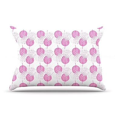 East Urban Home Apple Kaur Designs 'Wild Summer Dandelions' Circles Pillow Case; Pink/Gray