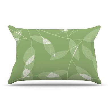 East Urban Home Alison Coxon 'Leaf Tawny' Pillow Case; Green