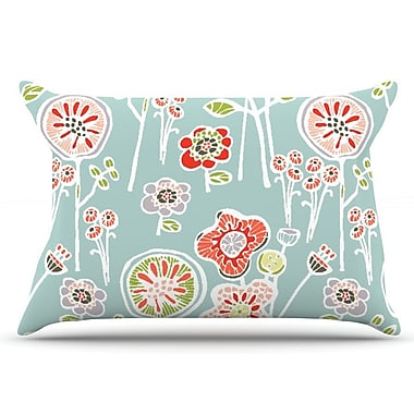 East Urban Home Gill Eggleston 'Folky Floral Lemon' Pillow Case; Blue/Teal