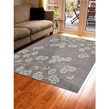 Winston Porter Kori Floral Hand-Tufted Beige/White Area Rug; Square 6'