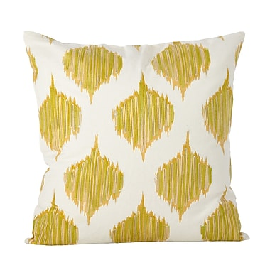Latitude Run Aumiller Stitched Ikat Geometric Cotton Throw Pillow; Mustard