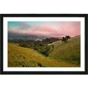Studio Works Modern  Sunset Rolling Hills  Framed Oil Painting Print; Black