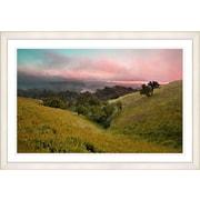 Studio Works Modern  Sunset Rolling Hills  Framed Oil Painting Print; White