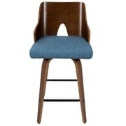Union Rustic Moses Fixed Height Counter 26'' Swivel Bar Stool; Blue