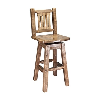 Loon Peak Abella 30'' Rustic Swivel Bar Stool; Stained and Lacquered