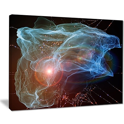East Urban Home Light Blue Lights of Network Graphic Art Print on Canvas; 20 '' W x 12 '' H