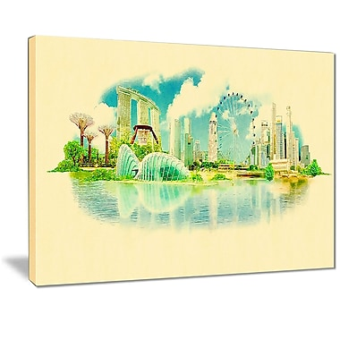 East Urban Home Singapore Panoramic View Photographic Print on Canvas; 20 '' W x 12 '' H