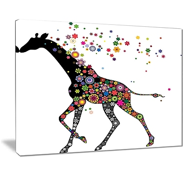East Urban Home Cheerful Giraffe Running Oil Painting Print on Canvas; 20 '' W x 12 '' H