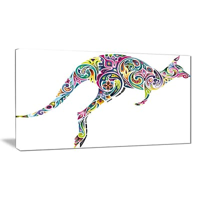 East Urban Home Floral Kangaroo Running Graphic Art Print on Canvas; 40 '' W x 20 '' H