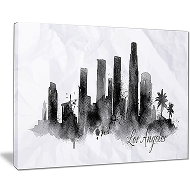 East Urban Home Los Angeles Black Silhouette Oil Painting Print on Canvas; 20 '' W x 12 '' H