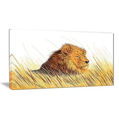 East Urban Home Lion Watching the Surroundings Graphic Art Print on Canvas; 40 '' W x 20 '' H
