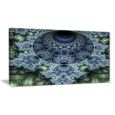East Urban Home Blue and Green Spiral Fractal Art Photographic Print on Canvas; 40 '' W x 20 '' H
