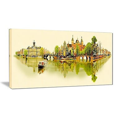 East Urban Home Amsterdam Panoramic View Graphic Art Print on Canvas; 32 '' W x 16 '' H