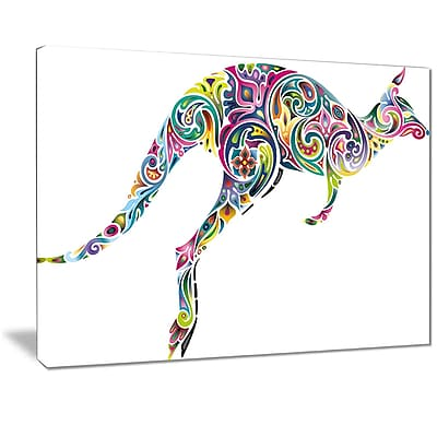 East Urban Home Floral Kangaroo Running Graphic Art Print on Canvas; 40 '' W x 30 '' H
