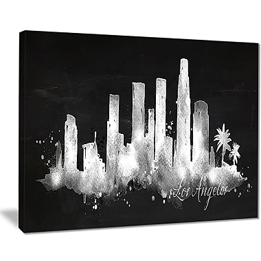 East Urban Home Los Angeles Dark Silhouette Oil Painting Print on Canvas; 20 '' W x 12 '' H