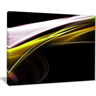 East Urban Home Fractal Lines Golden White Graphic Art Print on Canvas; 40 '' W x 30 '' H