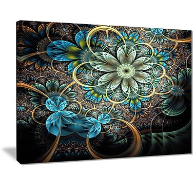 East Urban Home Lighted Blue Fractal Blue Flowers Photographic Print on Canvas; 20 '' W x 12 '' H