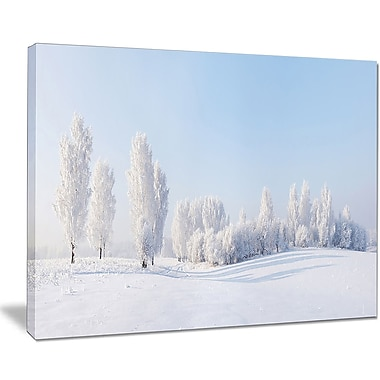 East Urban Home Winter Trees Covered w/ Frost Graphic Art Print on Canvas; 20 '' W x 12 '' H