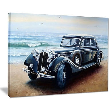 East Urban Home Retro Car on Sea Shore Oil Painting Print on Canvas; 20 '' W x 12 '' H