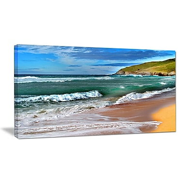 East Urban Home Blue Sea w/ Warm Waves Oil Painting Print on Canvas; 32 '' W x 16 '' H