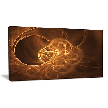 East Urban Home Softly Glowing Circles Golden Graphic Art Print on Canvas; 32 '' W x 16 '' H
