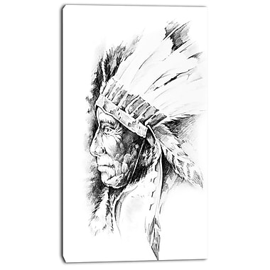 East Urban Home American Indian Head Tattoo Black and White Graphic Art Print on Canvas