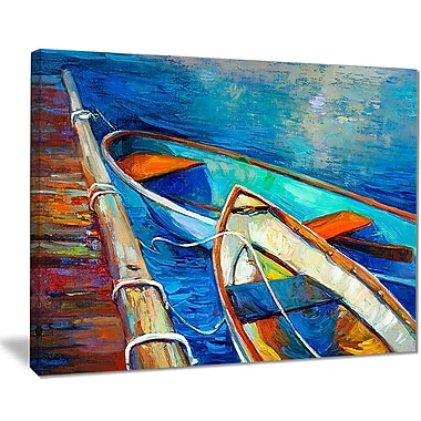 East Urban Home Boats and Pier in Blue Shade Oil Painting Print on Canvas; 20 '' W x 12 '' H