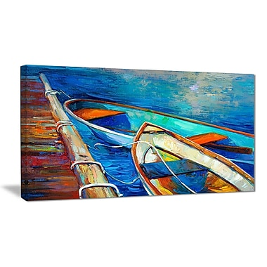 East Urban Home Boats and Pier in Blue Shade Oil Painting Print on Canvas; 32 '' W x 16 '' H