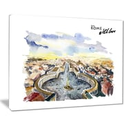 East Urban Home Rome Hand-drawn Illustration Oil Painting Print on Canvas; 40 '' W x 30 '' H