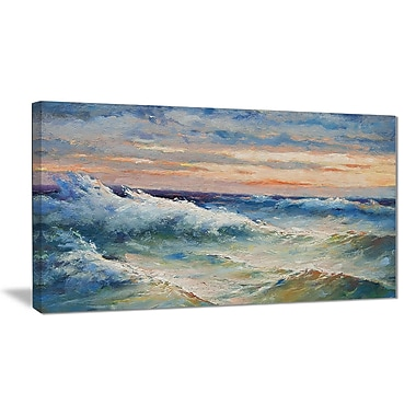 East Urban Home Waves During Storm Oil Painting Print on Canvas; 40 '' W x 20 '' H