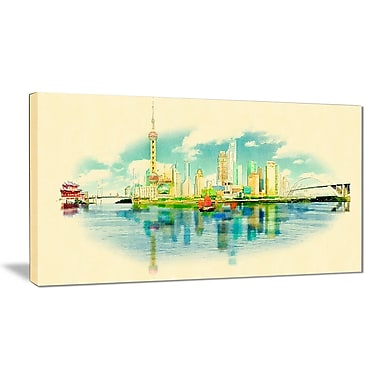 East Urban Home Shanghai Panoramic View Photographic Print on Canvas; 32 '' W x 16 '' H
