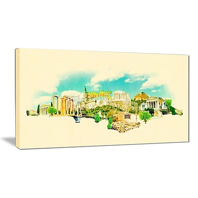 East Urban Home Athens Panoramic View Graphic Art Print on Canvas; 32 '' W x 16 '' H