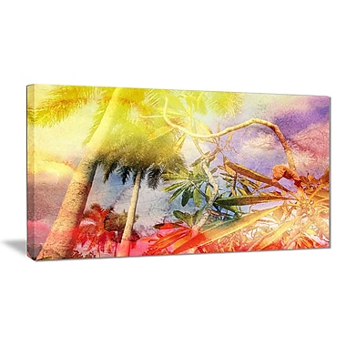 East Urban Home Yellow Retro Palm Trees Photographic Print on Canvas; 40 '' W x 20 '' H