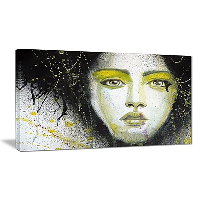East Urban Home Girl w/ Yellow Eye line Oil Painting Print on Canvas; 40 '' W x 20 '' H