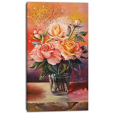 East Urban Home Roses on Marble Table Graphic Art Print on Canvas; 20 '' W x 40 '' H