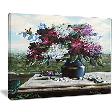 East Urban Home Lilac in Blue Jug Oil Painting Print on Canvas; 40 '' W x 30 '' H