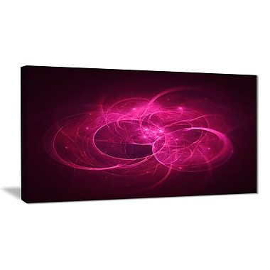 East Urban Home Glowing Magenta Circles Graphic Art Print on Canvas; 32 '' W x 16 '' H