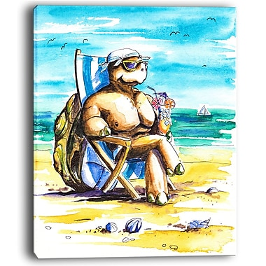 East Urban Home Turtle Enjoying Holidays on Beach Oil Painting Print on Canvas; 12 '' W x 20 '' H