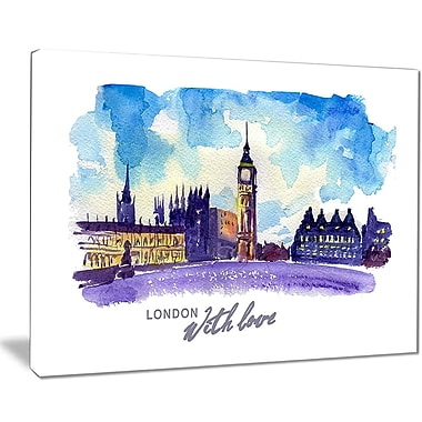 East Urban Home London Purple Illustration Oil Painting Print on Canvas; 20 '' W x 12 '' H