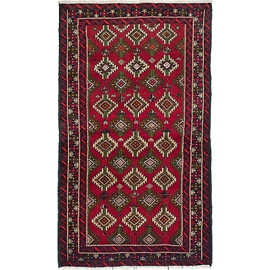 Bloomsbury Market Bilbo Hand-Knotted Rectangle Red Area Rug