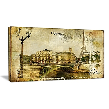 East Urban Home Vintage Paris Graphic Art Print on Canvas; 32 '' W x 16 '' H