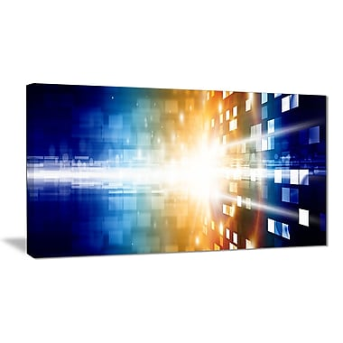 East Urban Home Fire on Blue Graphic Art Print on Canvas; 32 '' W x 16 '' H
