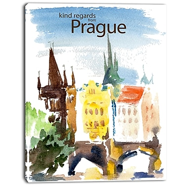 East Urban Home Old Prague Vector Illustration Oil Painting Print on Canvas; 12 '' W x 20 '' H