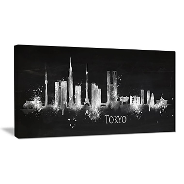 East Urban Home Silhouette Tokyo Black Oil Painting Print on Canvas; 32 '' W x 16 '' H