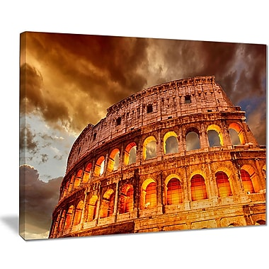 East Urban Home Colosseum in Rome Landscape Oil Painting Print on Canvas; 40 '' W x 30 '' H
