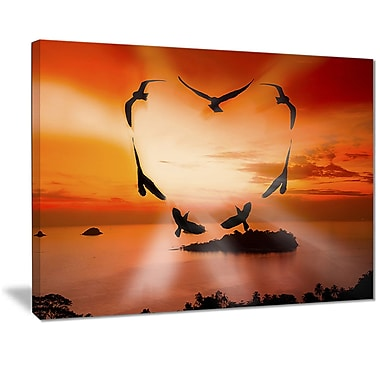 East Urban Home Crow Heart at Sunset Oil Painting Print on Canvas; 40 '' W x 30 '' H