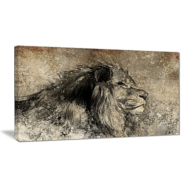 East Urban Home Lion in Sepia Oil Painting Print on Canvas; 40 '' W x 20 '' H